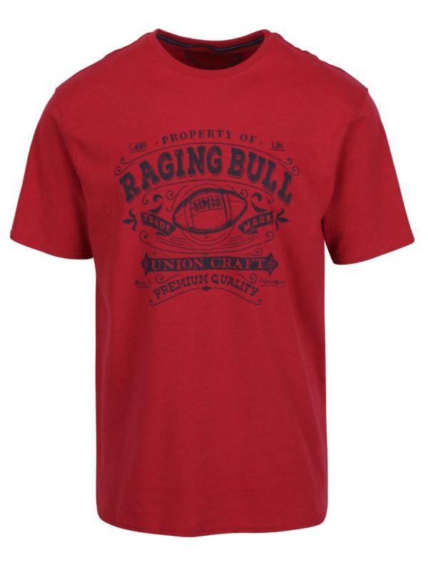 Červené tričko s potlačou Raging Bull