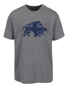 Sivé tričko s nášivkou býka Raging Bull