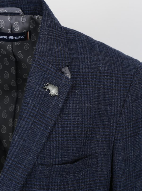 Tmavomodré kárované vlnené sako s brošňou v tvare býka Raging Bull