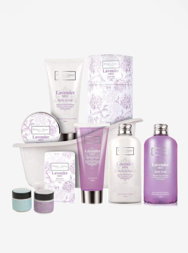 Deväťdielna darčeková kozmetická súprava s vôňou levandule Winter in Venice Lavender Mist