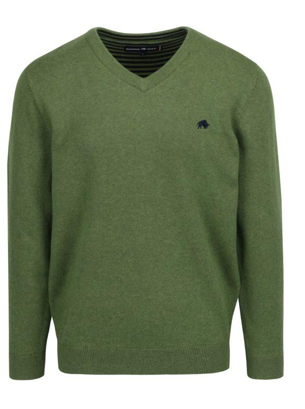 Zelený sveter s véčkovým výstrihom Raging Bull