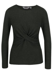 Zelený sveter so zberkaním Dorothy Perkins Petite