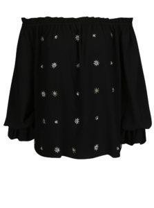 Čierna blúzka s odhalenými ramenami a korálkovou aplikáciou Dorothy Perkins