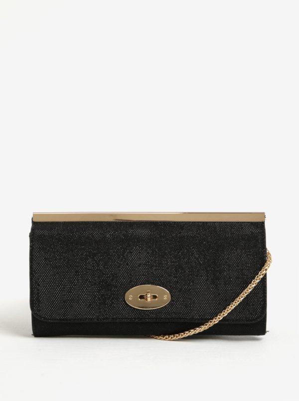 Čierna trblietavá listová kabelka s detailmi v zlatej farbe Juno