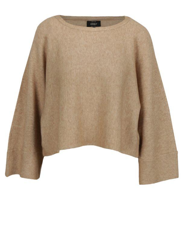 Béžový krátky oversize sveter s netopierími rukávmi ONLY Livency