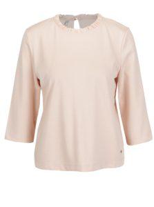 Svetloružové tričko s 3/4 rukávom a volánom pri krku ONLY Victoria