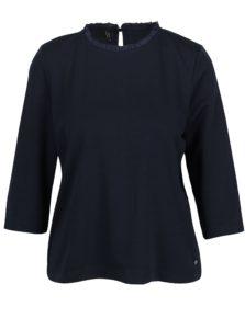 Tmavomodré tričko s 3/4 rukávom a volánom pri krku ONLY Victoria