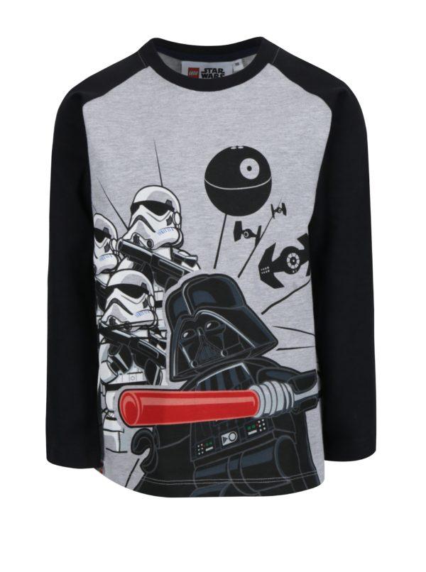 Čierno-sivé chlapčenské tričko s potlačou Lego Wear