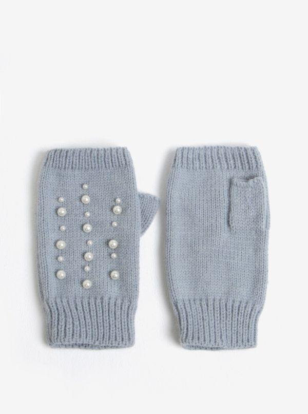 Sivé bezprstové rukavice Miss Selfridge