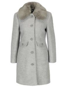 Svetlosivý kabát s prímesou vlny a golierom z umelého kožúška M&Co Petite