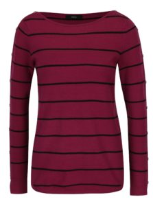 Tmavoružový pruhovaný sveter s gombíkmi M&Co