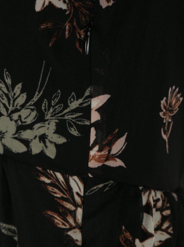 Čierne kvetované minišaty s priesvitným rukávom Apricot