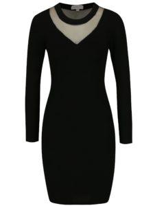 Čierne svetrové šaty s priesvitným sedlom Apricot