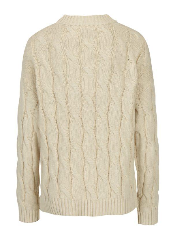 Béžový pletený sveter s rozparkami Apricot