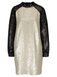 Béžovo-čierne flitrované šaty Framboise Shimmer