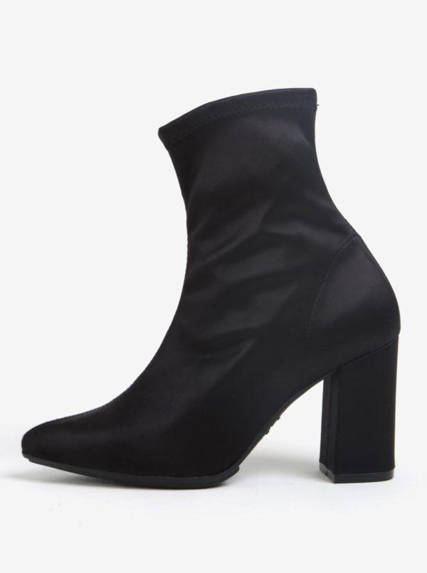 Čierne členkové topánky na podpätku OJJU