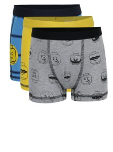 Súprava troch chlapčenských boxeriek v modrej a žltej farbe Lego Wear Umer