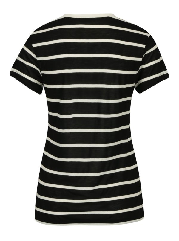 Čierno-krémové dámske pruhované priesvitné tričko Calvin Klein Jeans T-Core