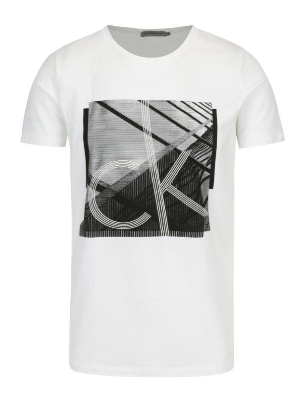 Biele pánske tričko s čiernou potlačou Calvin Klein Jeans Tradon