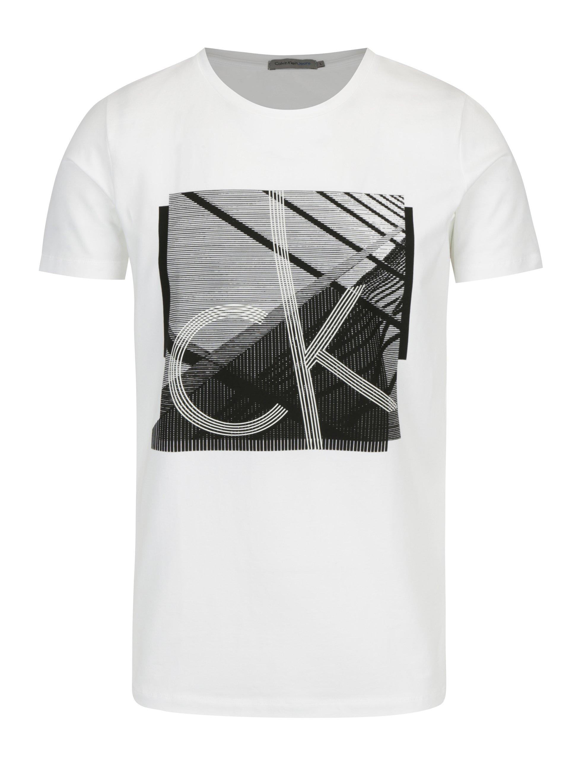 cce716800280 Biele pánske tričko s čiernou potlačou Calvin Klein Jeans Tradon ...