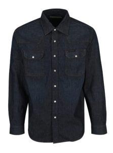 Tmavomodrá pánska rifľová košeľa s dlhým rukávom Calvin Klein Jeans Archive Western