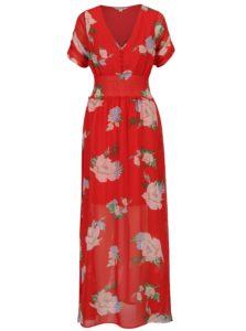 Červené kvetované maxišaty Miss Selfridge