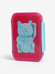 Modro-ružový box na jedlo s motívom mačky Mustard