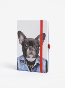 Krémový zápisník s motívom psa Mustard A5