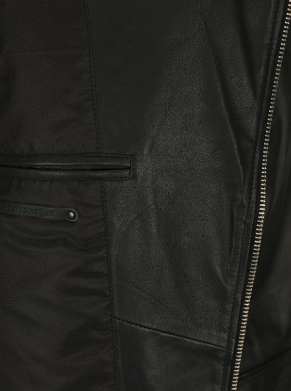 Čierna kožená bunda Selected Homme Seb