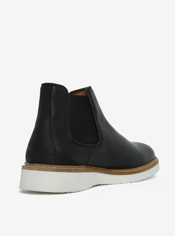 Čierne kožené chelsea topánky Selected Homme Rud
