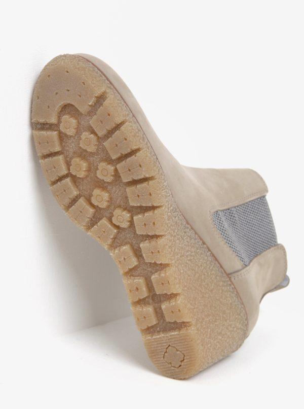 Béžové členkové chelsea topánky na klinovom podpätku Tamaris