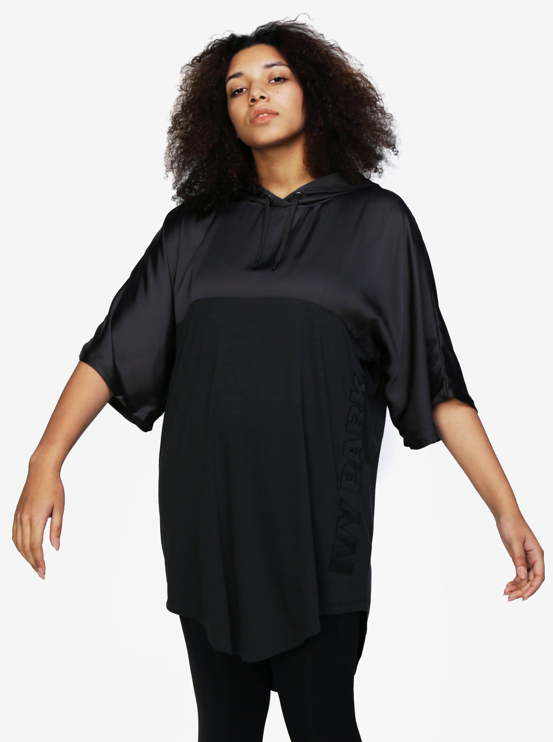 5bfa216a0c08 Čierne dlhé oversize tričko s kapucňou Ivy Park