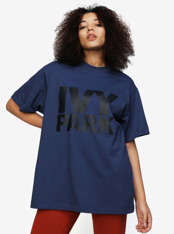 Tmavomodré oversize tričko s potlačou Ivy Park