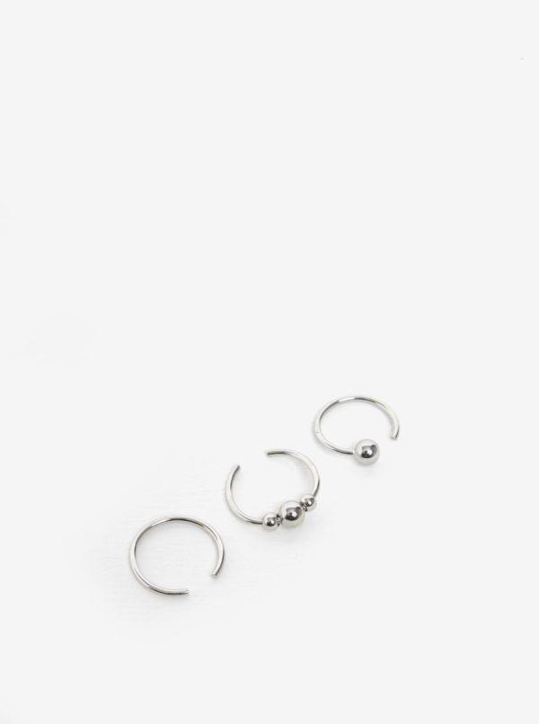 Súprava troch prstienkov v striebornej farbe Pieces Luna