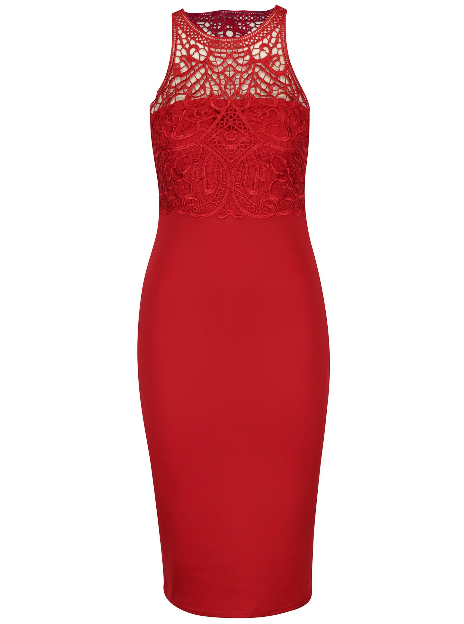 Červené puzdrové šaty s čipkovaným topom AX Paris  1b117e7e914