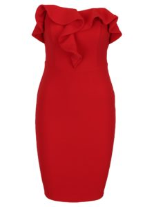 Červené puzdrové šaty s volánom a odhalenými ramenami AX Paris