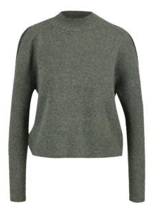 Kaki melírovaný sveter s prestrihmi na ramenách Miss Selfridge