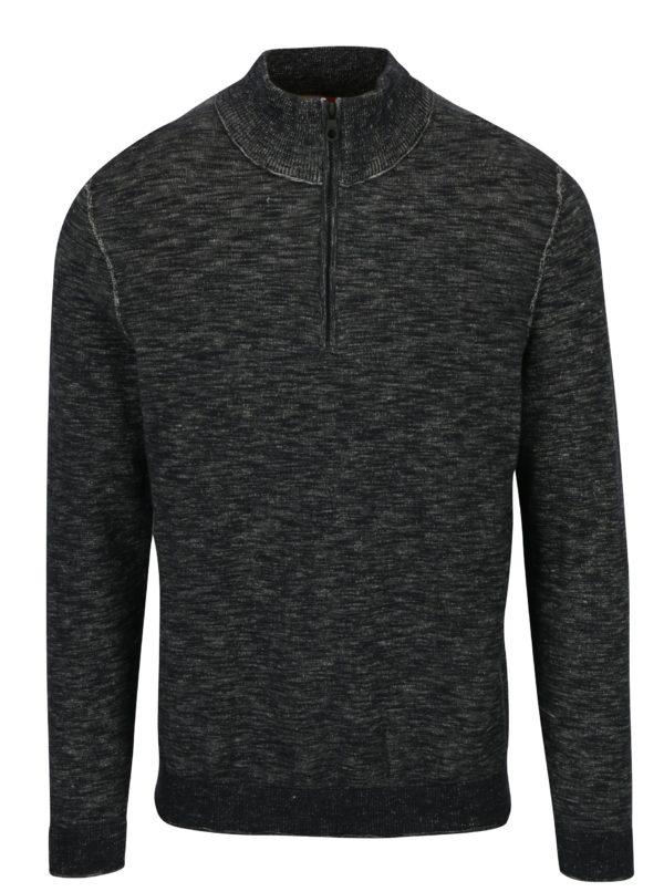 Sivý pánsky melírovaný sveter so zipsom s.Oliver