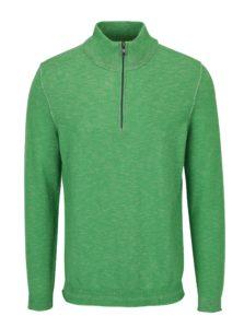Zelený pánsky melírovaný sveter so zipsom s.Oliver