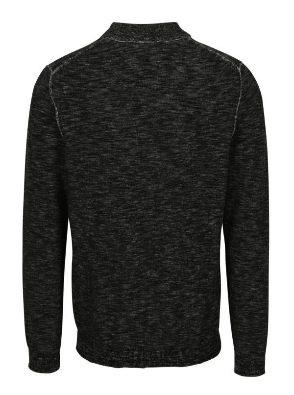 Čierny pánsky melírovaný sveter so zipsom s.Oliver