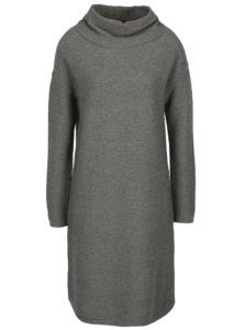 Sivé voľné svetrové šaty s dlhým rukávom a golierom s.Oliver