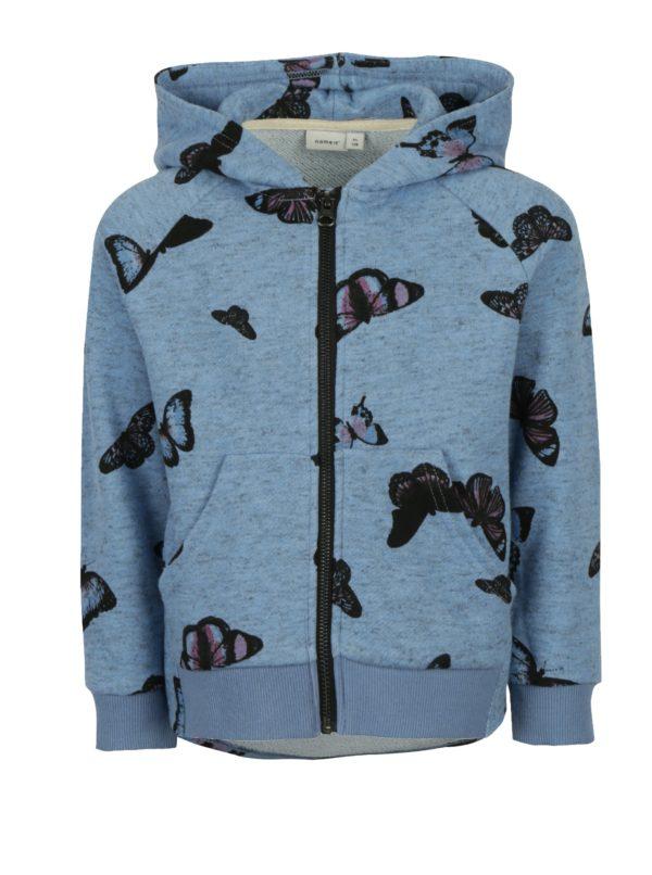 Modrá dievčenská mikina na zips s potlačou motýľov it Kutter