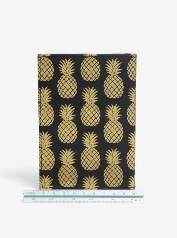 Čierne puzdro na doklady s motívom ananásov Sass & Belle