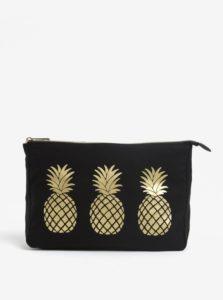 Čierna kozmetická taštička s motívom ananásov Sass & Belle
