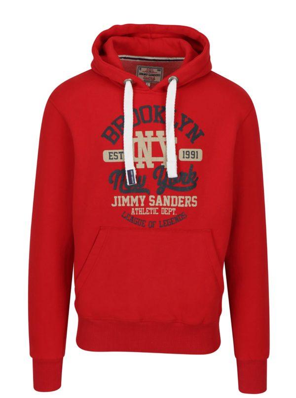 Červená pánska mikina s kapucňou a potlačou Jimmy Sanders