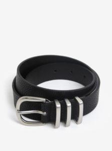 Čierny opasok s prackou v striebornej farbe Pieces Lea