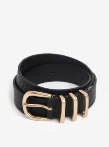 Čierny opasok s prackou v zlatej farbe Pieces Lea