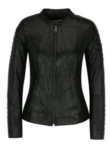 Čierna kožená dámska bunda s prešívanými rukávmi Jimmy Sanders Andria