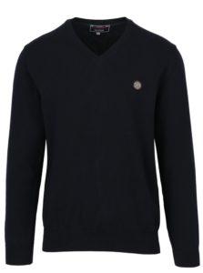 Tmavomodrý pánsky tenký sveter s nášivkou Jimmy Sanders
