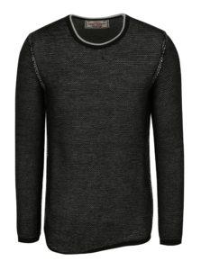Čierny pánsky melírovaný sveter s prímesou vlny Jimmy Sanders